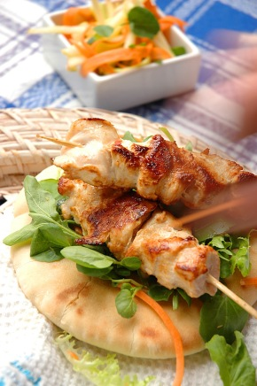 Tangy Chicken Kebabs with creamy orange mayonnaise